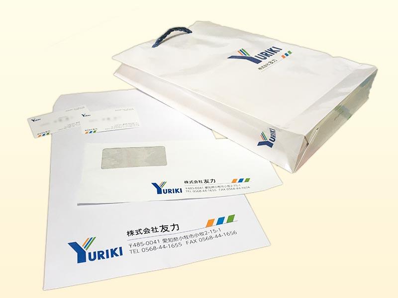 愛知県小牧市 株式会社友力様 tオリジナル手提げ袋・名刺・封筒制作